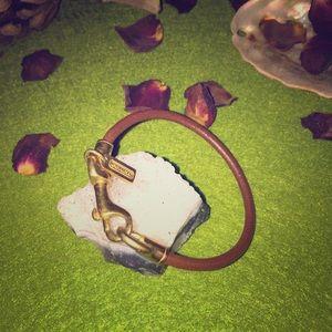 Authentic coach gold clasp leather bracelet